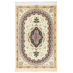 Small Scatter Size Ivory Persian Silk Qum Rug. Size: 2 ft 7 in x 4 ft