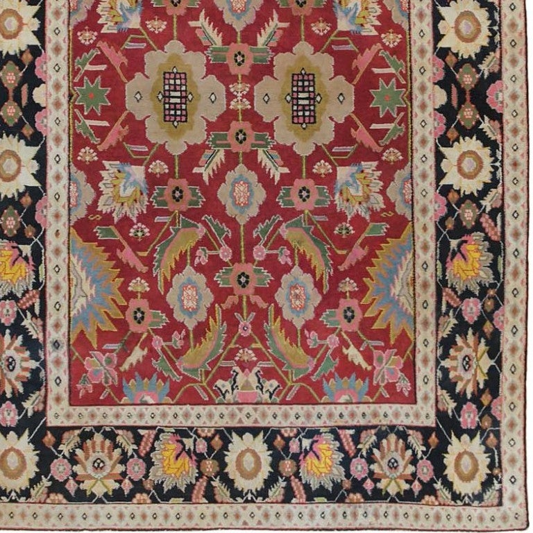 Indian Small Scatter Size Jewel Tone Antique Cotton Agra Rug. Size: 4 ft x 6 ft For Sale