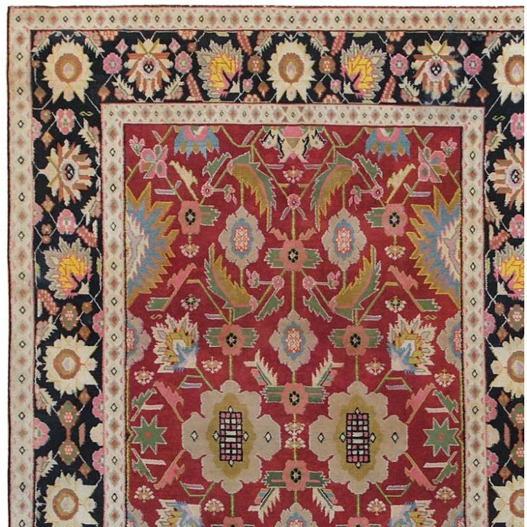Hand-Knotted Small Scatter Size Jewel Tone Antique Cotton Agra Rug. Size: 4 ft x 6 ft For Sale