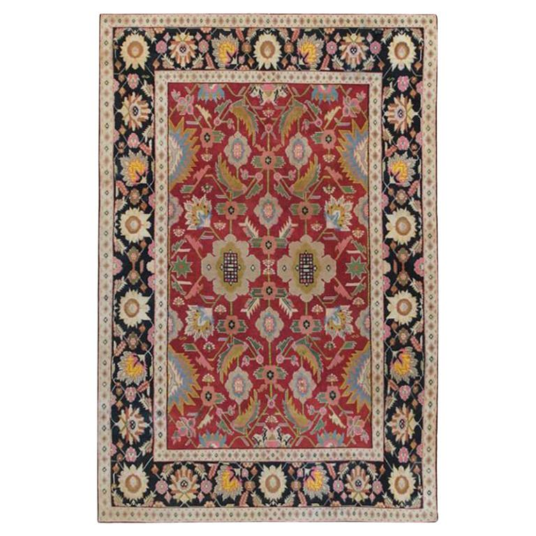 Small Scatter Size Jewel Tone Antique Cotton Agra Rug. Size: 4 ft x 6 ft For Sale