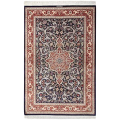 Small Scatter Size Navy Silk Persian Qum Rug. Size: 3 ft 4 in x 5 ft