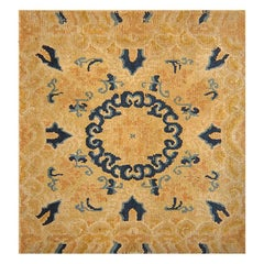 Small Scatter Square Size Gold Antique Chinese Rug. Size: 2 ft 1 in x 2 ft 6 in
