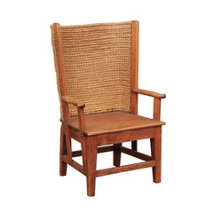Small Scottish Orkney Wingback Chair with Handwoven Straw Back, circa 1900