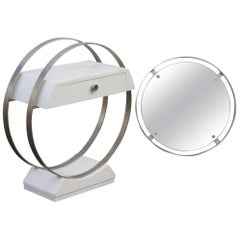 Small Sculpture Console with Mirror in White Lacquered Wood and Satin Steel