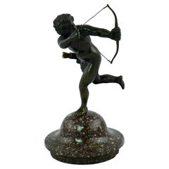 """Small Sculpture of a Putti """"Amour"""" with a Porphyry Base"""