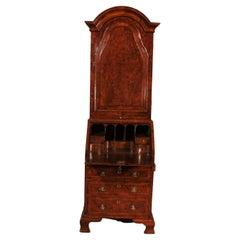 Small Secretary or Cabinet in Burl Walnut with Dome, 18 ° Century