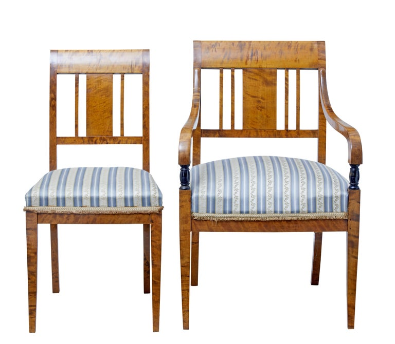 Good quality set of two arm and two single dining chairs, circa 1910.