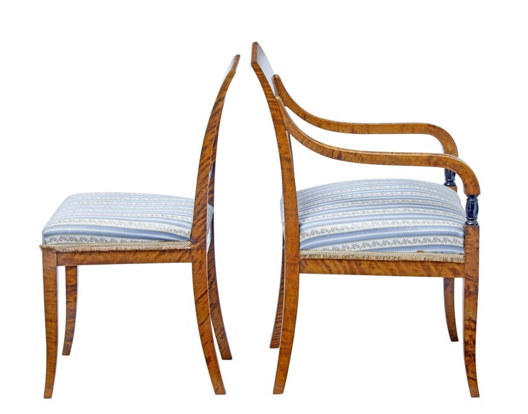 Art Deco Small Set of Four Early 20th Century Birch Dining Chairs For Sale