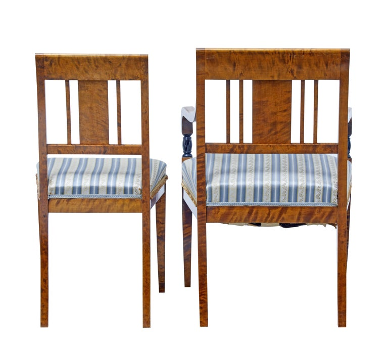 Swedish Small Set of Four Early 20th Century Birch Dining Chairs For Sale