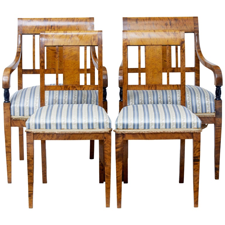 Small Set of Four Early 20th Century Birch Dining Chairs For Sale