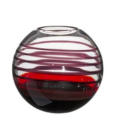 Small Sfera Vase in Black and Red by Carlo Moretti