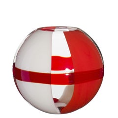 Small Sfera Vase in Orange, Red and Ivory by Carlo Moretti