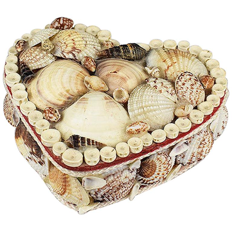 Small Shell Encrusted Heart Shaped Trinket Box For Sale