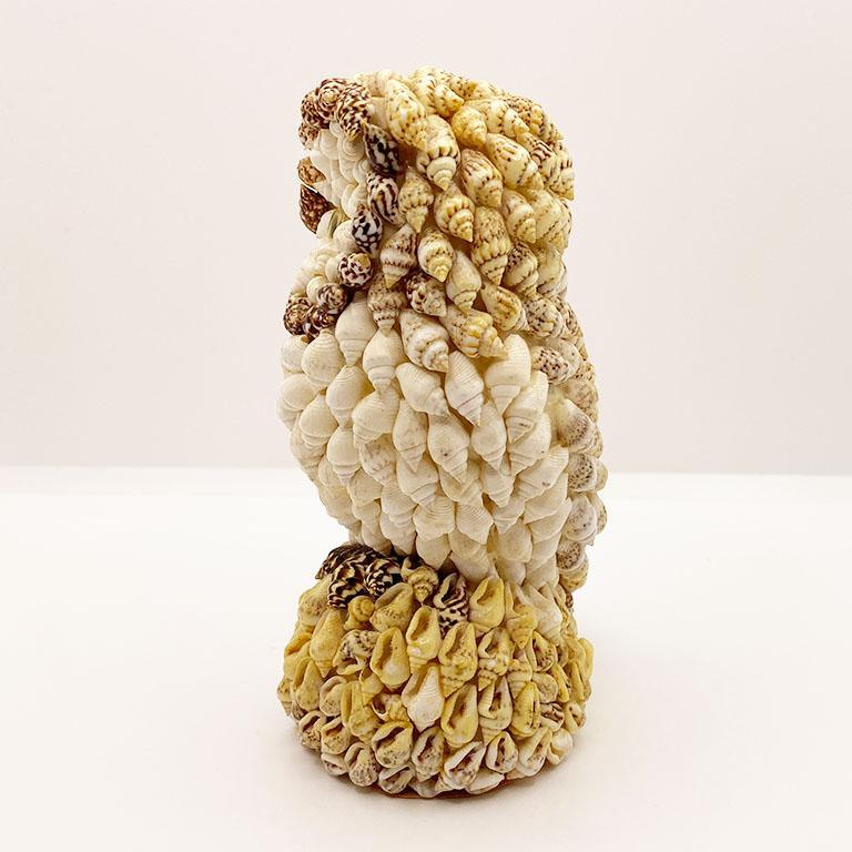 Folk Art Small Shell Encrusted Owl, Philippines For Sale