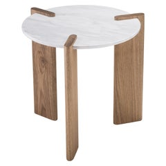 Small Side Table by Juliana Vasconcellos in Brazilian Solid Wood and Carrara