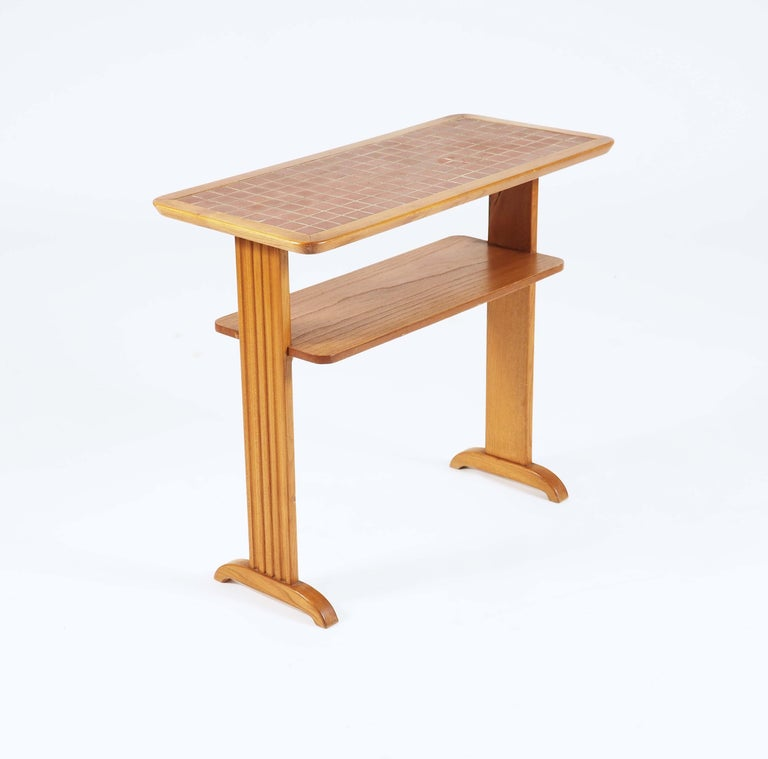 Swedish Small Side Table in Elmwood and