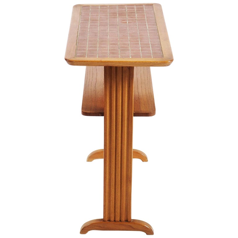 """Small Side Table in Elmwood and """"Bosaik"""" by Otto Schulz, Boet For Sale"""