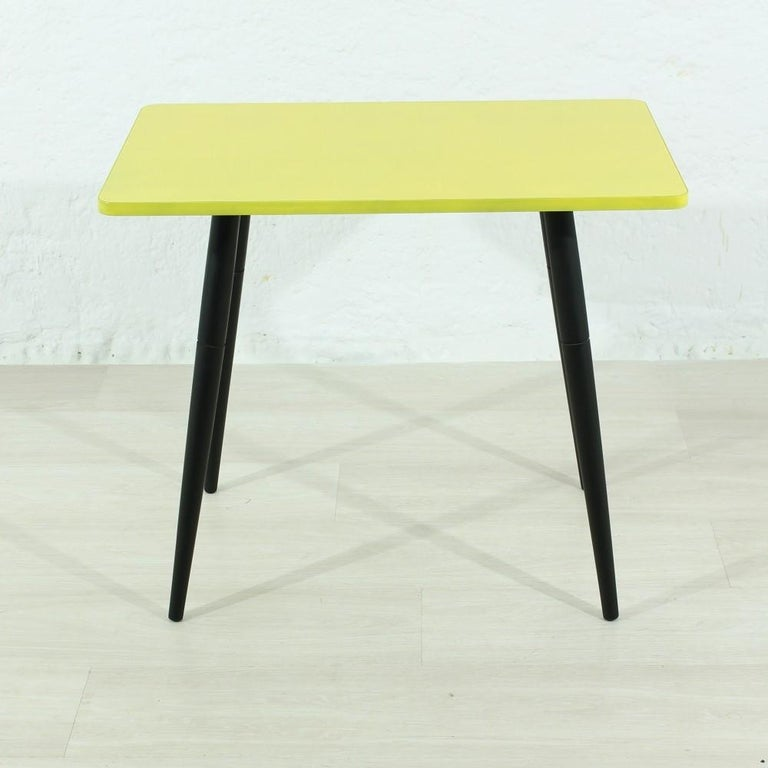 Small Side Table In Yellow 1950s