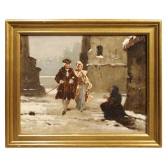 Small Signed Antique Oil on Canvas, Parisian Beggar Woman