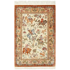 Small Silk Persian Hunting Scene Qum Rug. Size: 3 ft 5 in x 5 ft 1 in