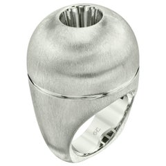 Small Silver Dome Ring with White Sapphire
