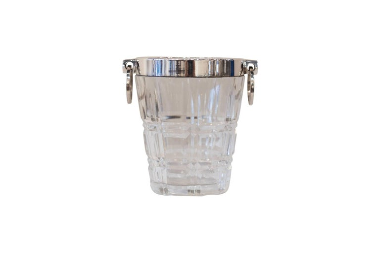 English Small Silver Plated Glass Ice Bucket, circa 1890 For Sale
