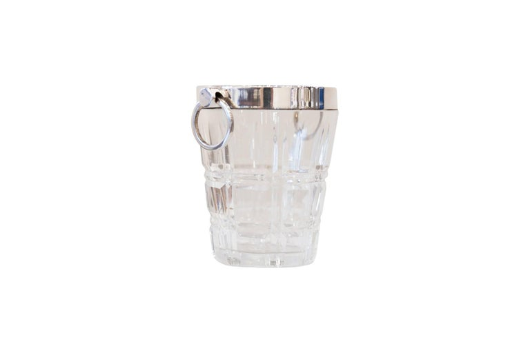 Small Silver Plated Glass Ice Bucket, circa 1890 In Excellent Condition For Sale In Aspen, CO
