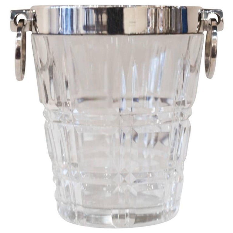 Small Silver Plated Glass Ice Bucket, circa 1890 For Sale