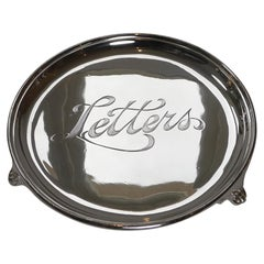"""Small Silver Plated """"Letters"""" Tray by Elkington, 1907"""