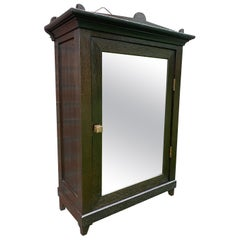 Small Size Arts & Crafts Museum Quality Dark Oak Wall Cabinet with Door Mirror