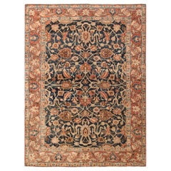 "Small Size Blue Background Antique Persian Tabriz Rug. Size: 4' 7"" x 6' 4"""