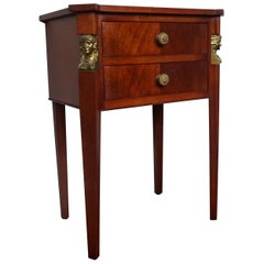 Small Size Empire Revival Mahogany End or Side Table w/ Drawers & Goddess Masks