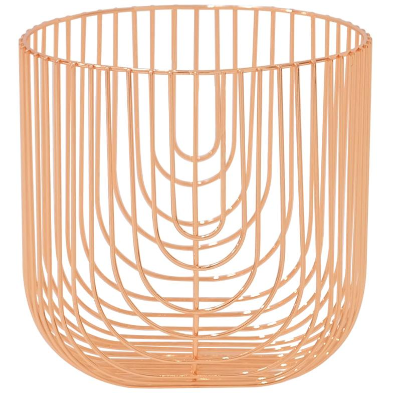 Small Sized Basket, Wire Basket Design by Bend Goods, Copper