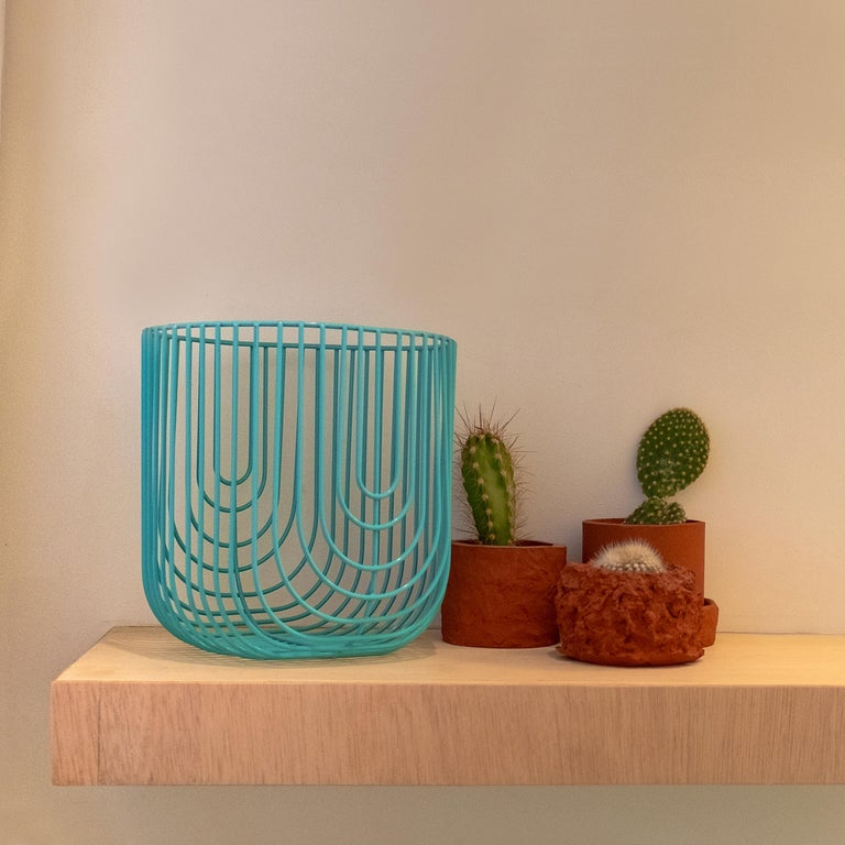 Modern Small Sized Basket, Wire Basket Design by Bend Goods, Gold For Sale