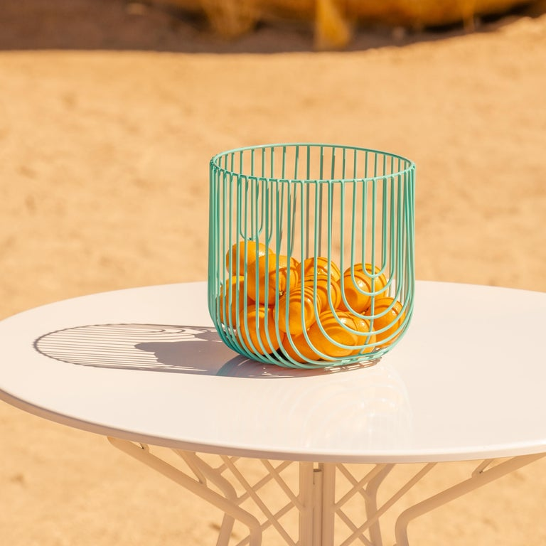Plated Small Sized Basket, Wire Basket Design by Bend Goods, Gold For Sale