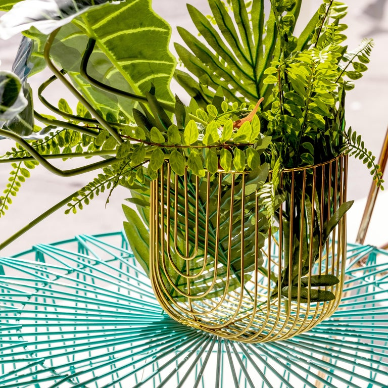 Small Sized Basket, Wire Basket Design by Bend Goods, Gold In New Condition For Sale In Los Angeles, CA