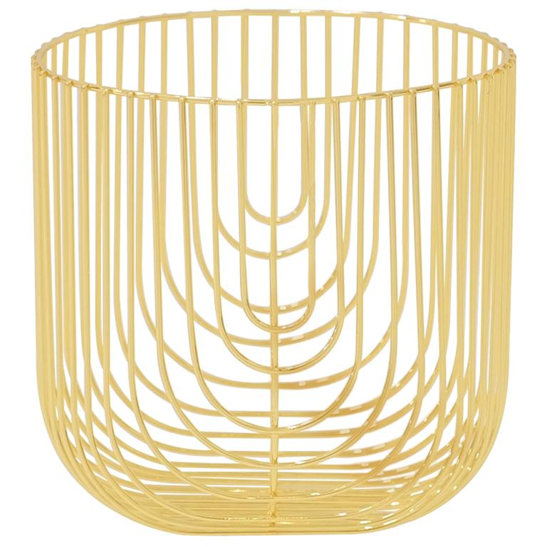 Small Sized Basket, Wire Basket Design by Bend Goods, Gold For Sale