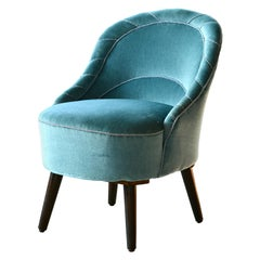 Small Slipper Chair in Turquoise Mohair Danish Midcentury