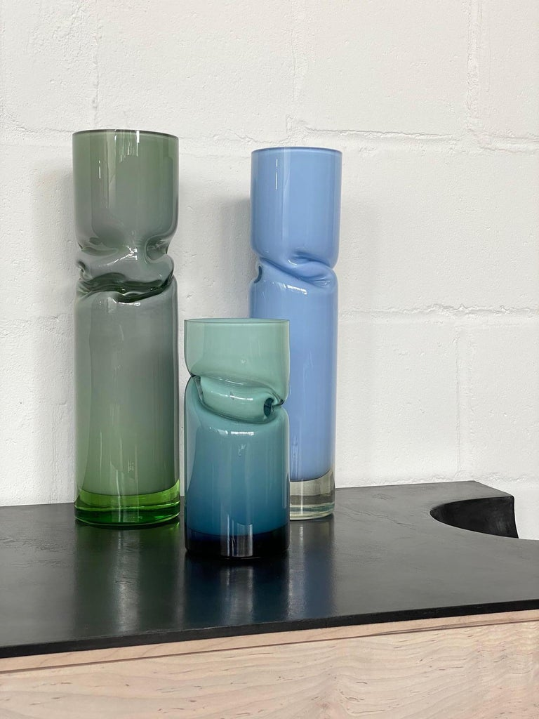 Blown Glass Small Smashed Vase by Avram Rusu Studio For Sale