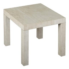 Small Smoke Side Table in Beige Travertine Marble