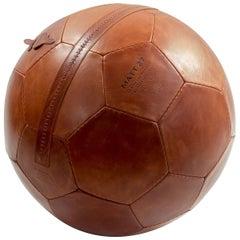 Small Soccer Ball Pouf Brown