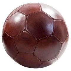 Small Soccer Ball Pouf Dark Brown