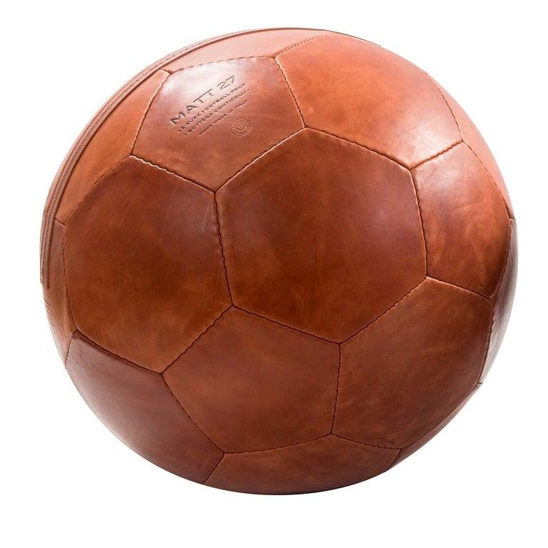 Modern Small Soccer Ball Pouf Papaya For Sale