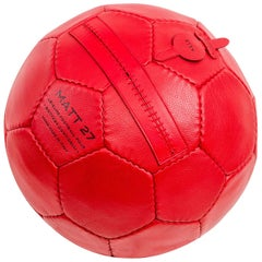Small Soccer Ball Pouf Red