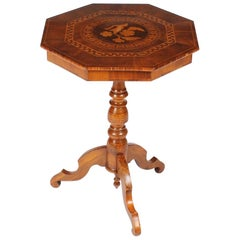Small Sorrento 19th Century Side Table, Walnut with Marquetry, Italy, circa 1900