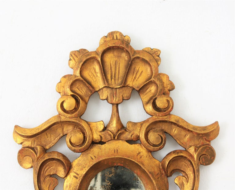 Small Spanish Rococo Style Giltwood Mirror For Sale 5
