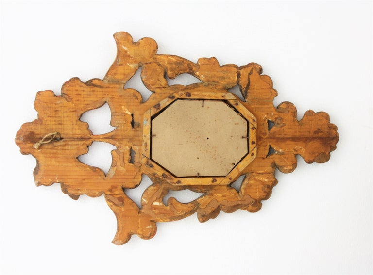 Small Spanish Rococo Style Giltwood Mirror For Sale 6