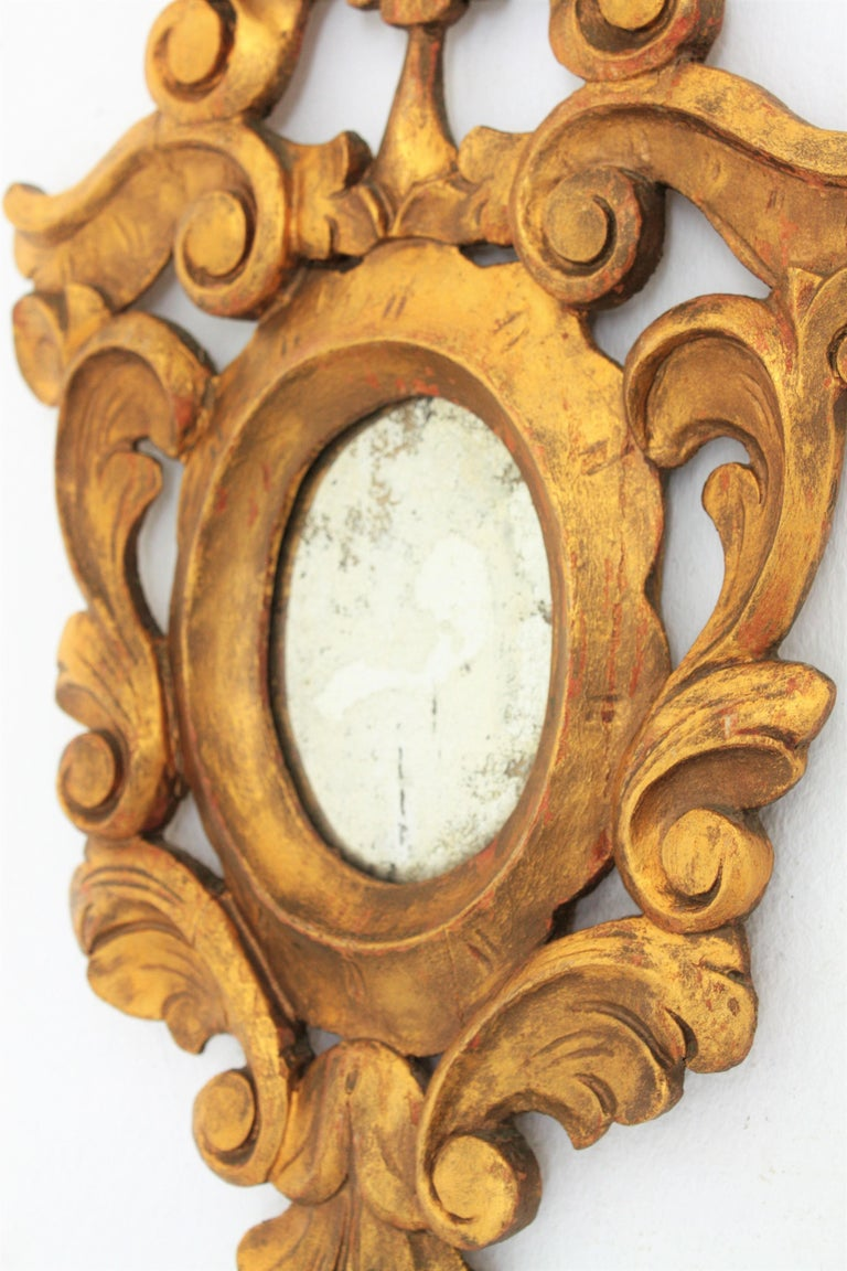 20th Century Small Spanish Rococo Style Giltwood Mirror For Sale