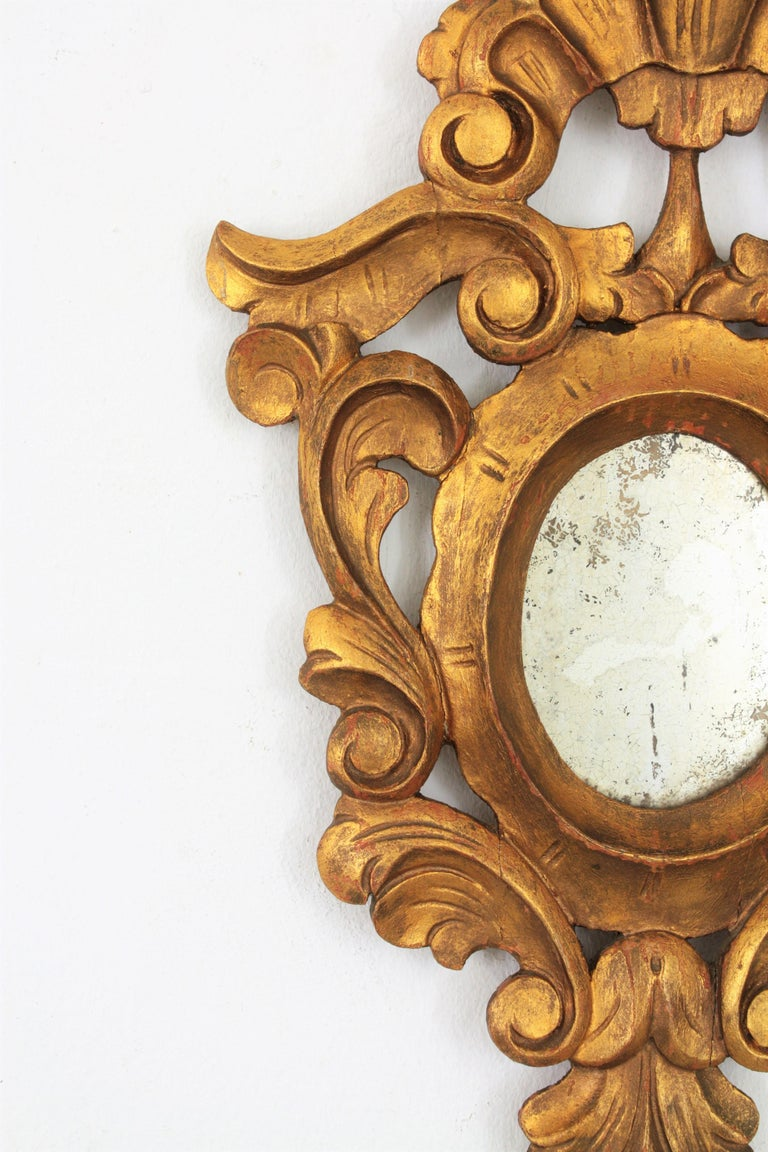 Small Spanish Rococo Style Giltwood Mirror For Sale 1