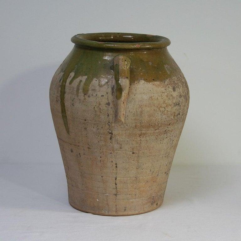 Glazed Small Spanish 19th Century Olive Jar For Sale